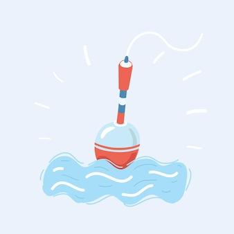 水中でフック付きのフロート