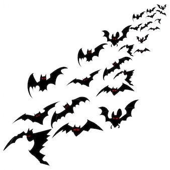 Flock of bats isolated on a white background.  flat illustration for halloween.