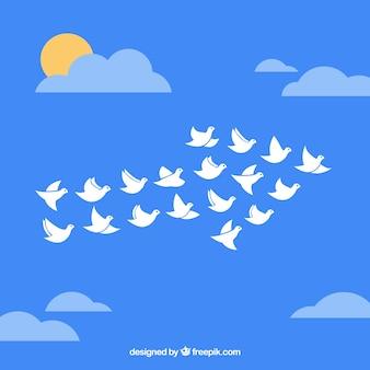 矢印の形で鳥の群れ