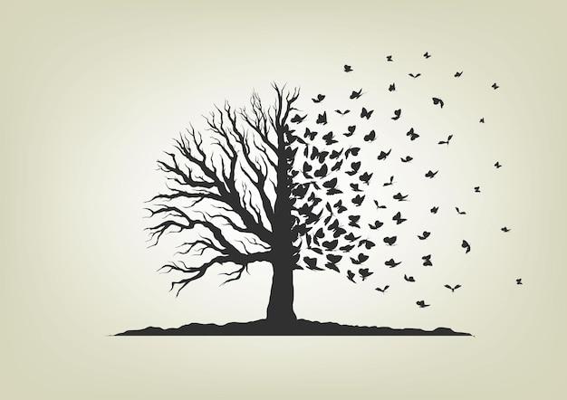 나뭇 가지에 비행 새의 무리입니다.