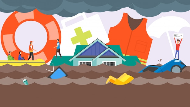 홍수 재해 구조 개념. 도시 거리에서 홍수 물. 사람들을 돕는 구조 보트 팀