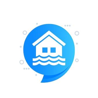 Flood icon with a house, vector