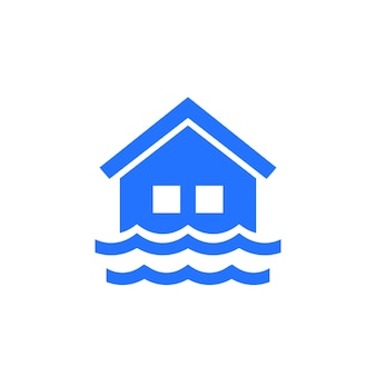 Flood icon with a house