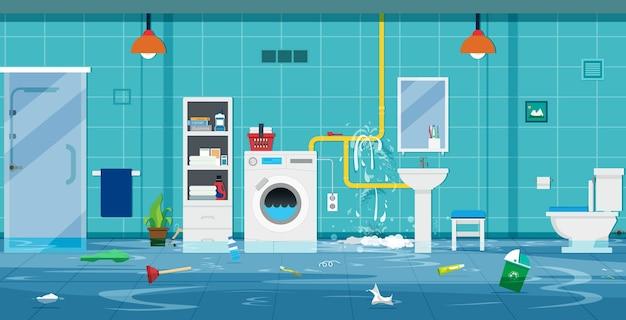 Наводнение в туалете из-за сломанных труб