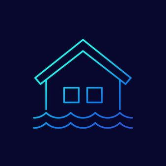 Значок вектора линии наводнения с домом