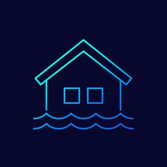 Flood line vector icon with a house
