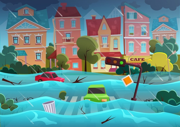 Flood natural disaster in cartoon city