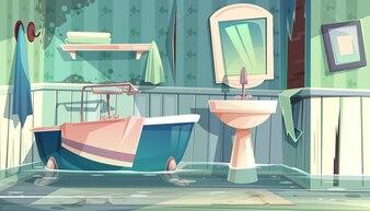 Flooded bathroom in old apartments or house cartoon illustration with vintage bathtub