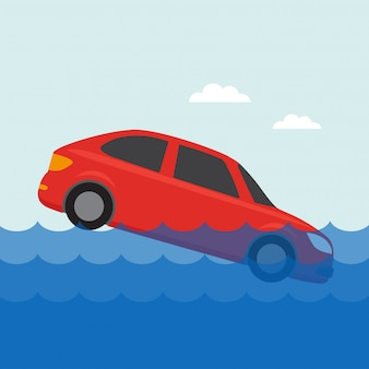 Flooded car icon in the water, for insurances