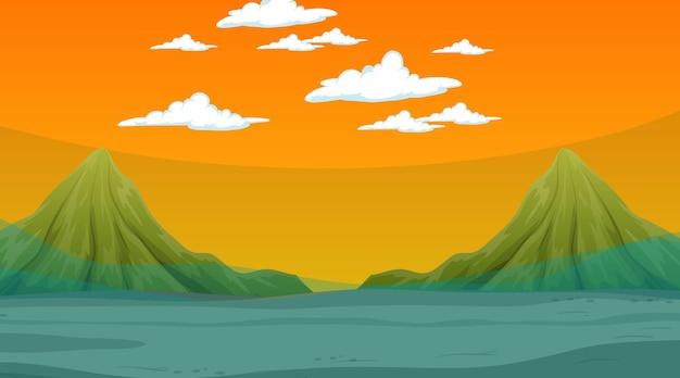 夜の山のシーンと洪水の風景