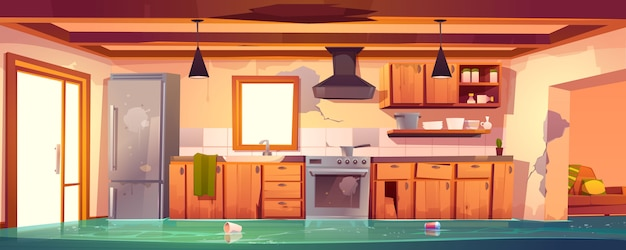 Flooded rustic kitchen, abandoned empty interior