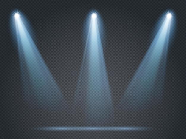 隅に白い光で輝く投光照明