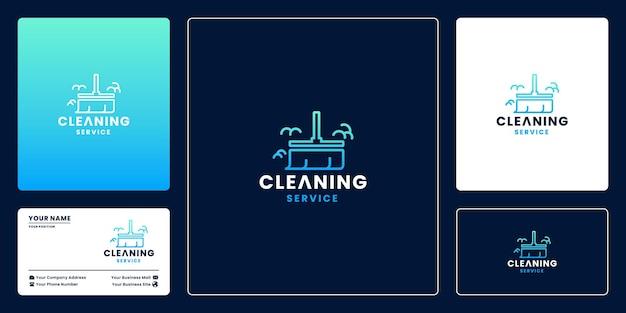 床をきれいにする、クリーニングサービスのロゴデザインテンプレート