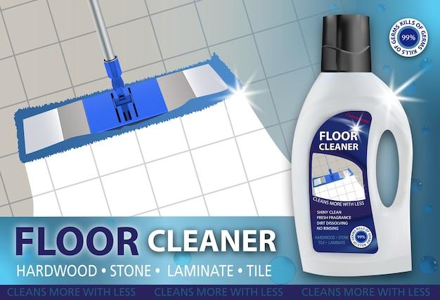 Floor cleaner, disinfectant cleaner for washing floors. Premium Vector