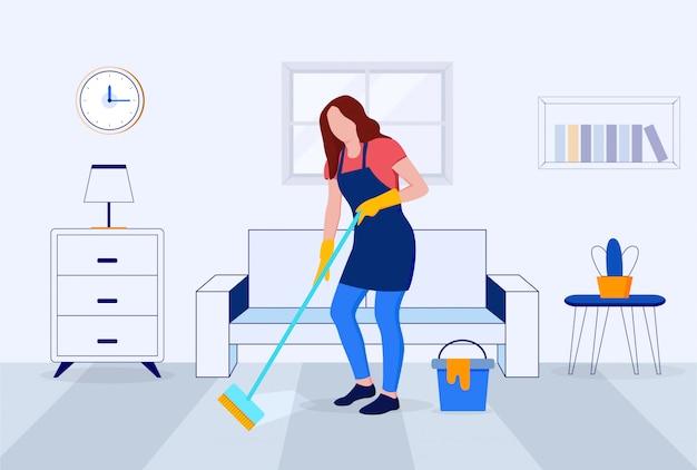 집이나 사무실의 바닥 청소