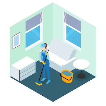 Design isometrico per la pulizia dei pavimenti