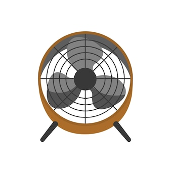 Floor fan, portable ventilator vector illustration. air cooling equipment, wind blower. electric household appliance with rotating blades isolated on white background. home, office attribute.