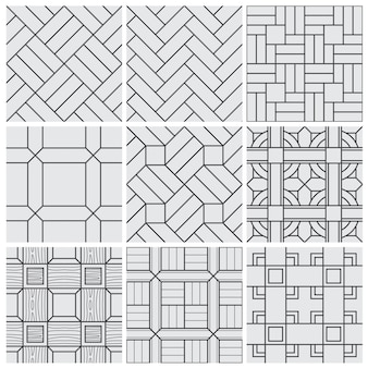 Floor material tiles vector seamless patterns set
