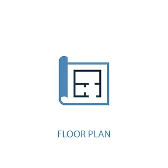 Floor plan concept 2 colored icon. simple blue element illustration. floor plan concept symbol design. can be used for web and mobile ui/ux