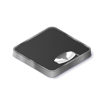 Floor scales for weight measurement realistic isometric icon