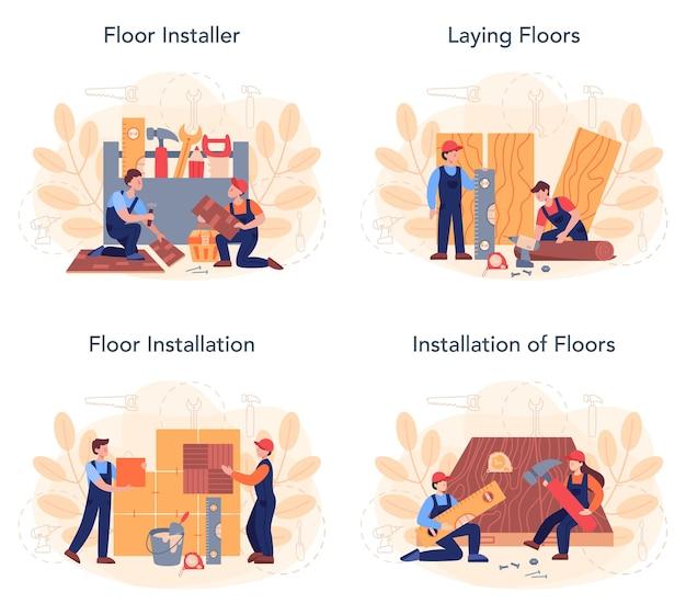 바닥재 설치 세트. 전문 쪽모이 세공, 나무 또는 타일 바닥.