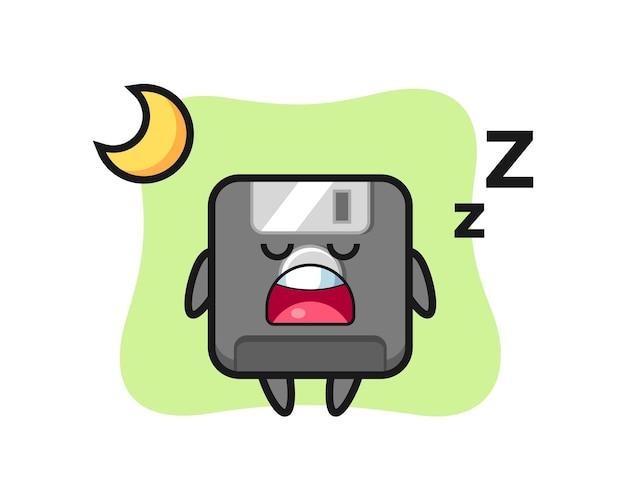 夜眠っているフロッピーディスクのキャラクターイラスト、tシャツ、ステッカー、ロゴ要素のかわいいスタイルのデザイン
