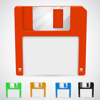 Of a floppy disk in different colors