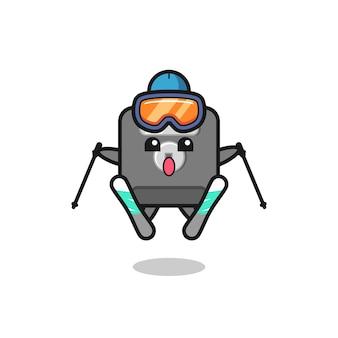スキープレーヤーとしてのフロッピーディスクのマスコットキャラクター、tシャツ、ステッカー、ロゴ要素のかわいいスタイルのデザイン
