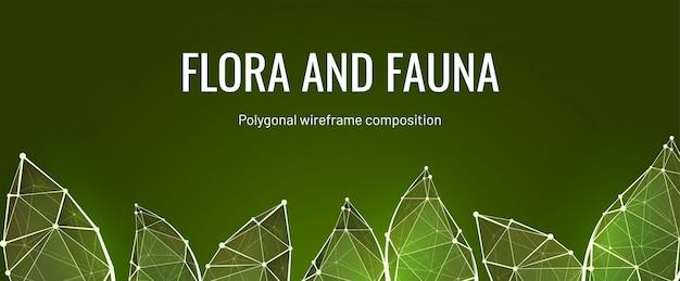 Флора и фауна низкополигональная баннер шаблон