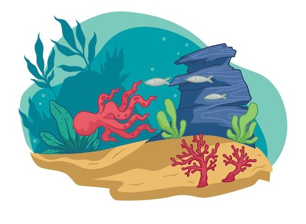 수중 동식물, 수생 생물과 해초가 있는 수족관. 물에 떠 있는 문어. 산호, 단풍, 동물, 석조 장식이 있는 바다 또는 바다 깊이. 평면 스타일의 벡터