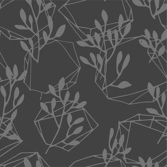 植物相と幾何学的なラインのシームレスなパターン。背景を抽象化するか、暗い色合いで印刷します。ファブリックテキスタイルのヴィンテージoモダンプリント。ミニマリストの花と現代的な形。フラットスタイルのベクトル