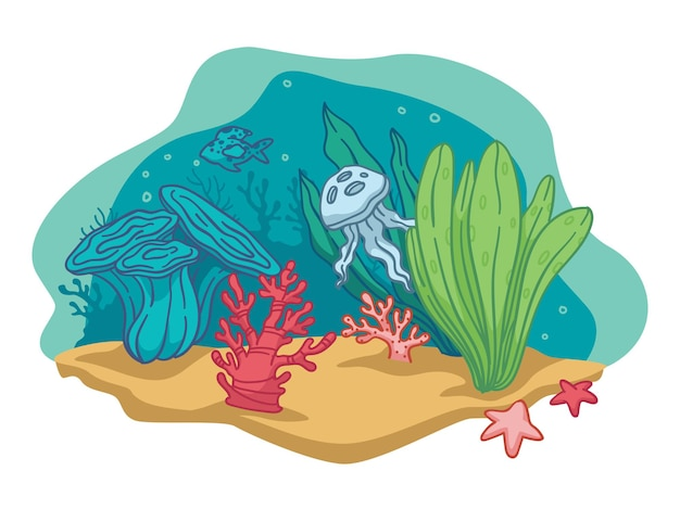 Flora and fauna underwater, isolated depth of sea or ocean. marine life scenery. aquarium with seaweeds and starfishes, jellyfish or octopus. sandy bottom with botany decor. vector in flat style