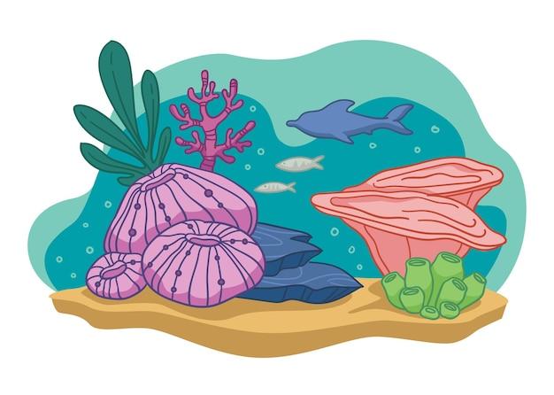 Flora and fauna of wild life underwater. aquarium or bottom of sea or ocean