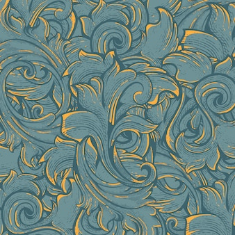 Flora pattern with engraving style