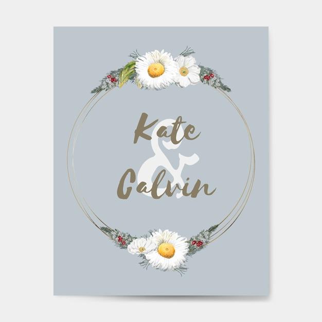 Flora wedding invitation card mockup vector