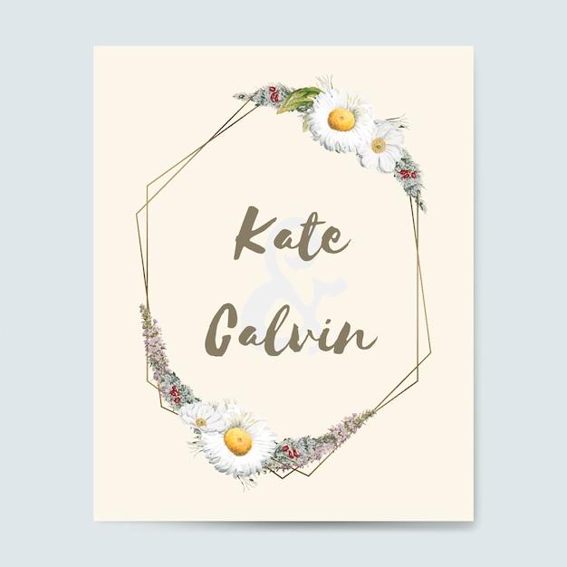 フローラの結婚式の招待カードモックアップベクトル