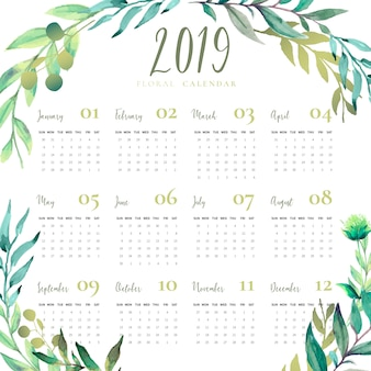Floral 2019 calendar with watercolor leaves