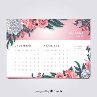 Floral 2019カレンダー