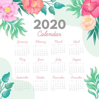 Floral 2020 calendar template