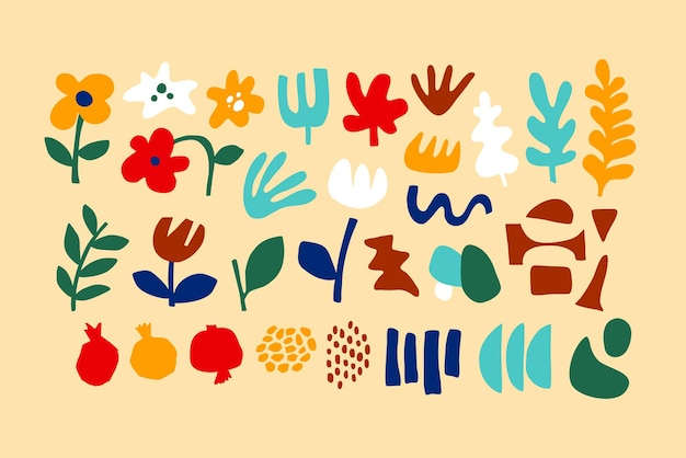 꽃 추상 컬렉션, 현대적인 스타일의 기하학적 모양. 꽃으로 설정된 벡터, 현대적인 콜라주 스타일의 잎. 추상 모양 손으로 그린 그림. 다채로운 유행 background.isolated