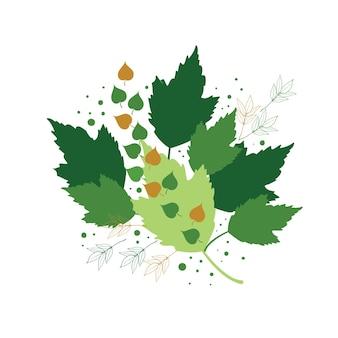 Цветочный абстрактный дизайн с листьями растений на белом фоне