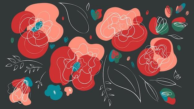 花の抽象的なヘッダーは、抽象的な花と暗い背景をウィットします。トレンディな抽象的な花の夏と春のロマンチックなイラスト。美しい結婚式や休日のデザイン。季節のトップヘッダー