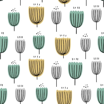 Floral abstract seamless pattern. hand drawn, doodle style plants for packaging, textiles and other designs.