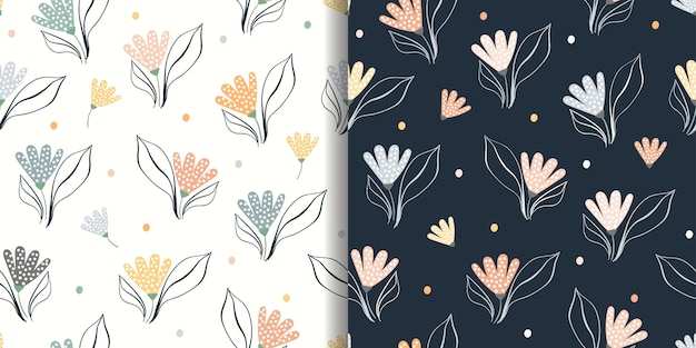 Floral abstract seamless patterns set