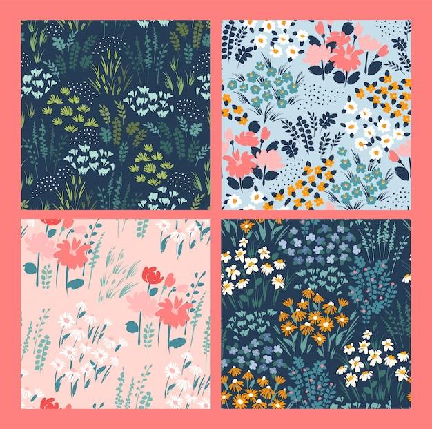 Floral abstract seamless patterns.