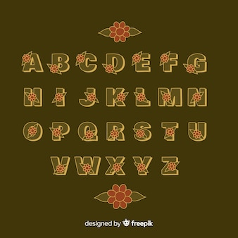 Floral alphabet in 60's style on brown background
