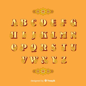 Floral alphabet in 60's style on orange background