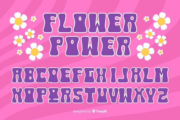 Floral alphabet in 60's style in pink background