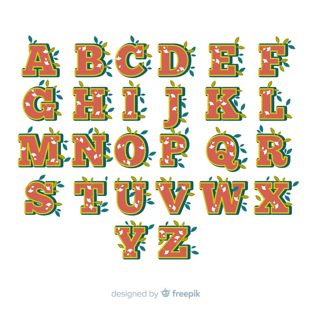 Floral alphabet in 60's style
