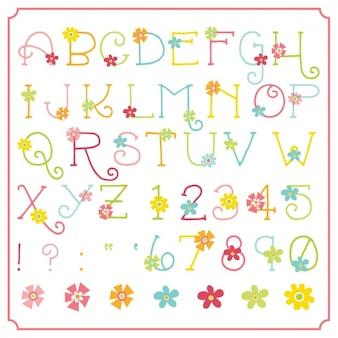 Disegno alfabeto floreale